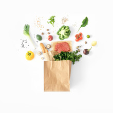 Healthy Eating Background Top View Full Paper Bag Healthy Food