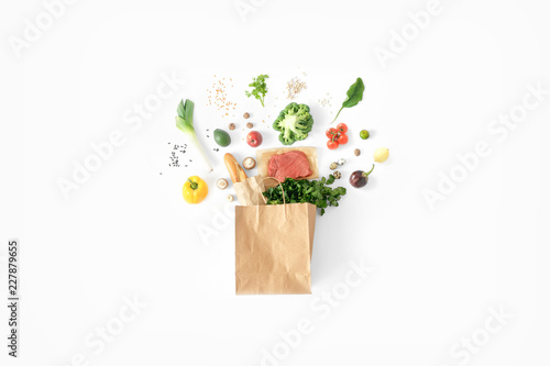 Full paper bag healthy food white background Healthy eating background