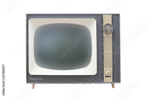 Tela  Old Russian black and white TV set isolated on white with clipping paths