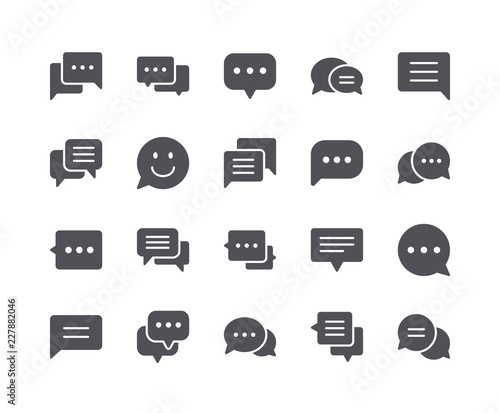 Fototapety, obrazy: Minimal Set of Chat Bubble Flat Icon