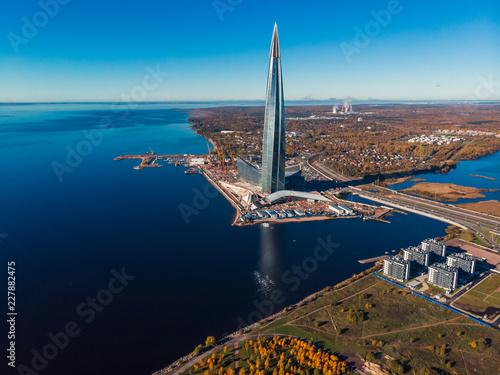 Saint Petersburg, RUSSIA - OCTOBER 1, 2018: Skyscraper Lakhta center Gazprom headquarters Canvas Print