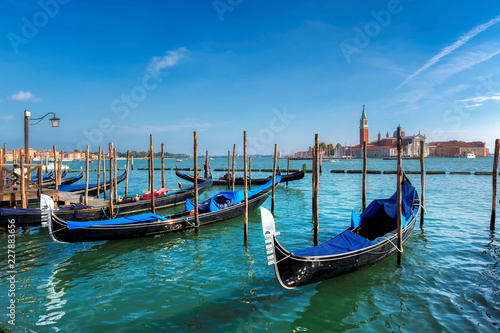 Spoed Foto op Canvas Venetie Venice gondolas on San Marco square at sunny day, Venice, Italy.