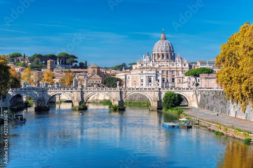 Rome Skyline with Vatican St Peter Basilica at sunny autumn day, Rome Italy Canvas Print