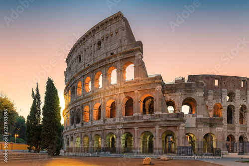 Sunrise view of the Colosseum in Rome in the early morning, Rome, Italy,
