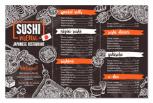 Sushi And Japanese Food Restaurant Menu In Sketch Hand Drawn Style On Chalkboard