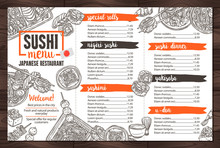 Sushi And Japanese Food Restaurant Menu In Sketch Hand Drawn Style