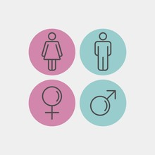 Gender Flat Vector Icons. Man And Woman Flat Vector Icons. Toilet Flat Vector Icon