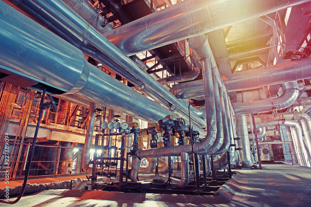 Fototapety, obrazy: Equipment, cables and piping as found inside of a modern industrial power plant