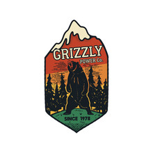 Wanderlust Logo Emblem. Vintage Hand Drawn Travel Badge. Featuring Grizzly Bear In The Forest Scene. Included Custom Adventure Quote. Stock Vector Hike Distressed Insignia