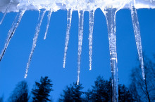 Icicles Hanging From The Gutter, With Trees And Blue Sky In The Background