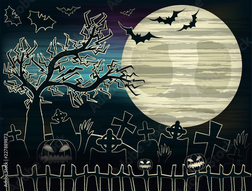 Photo  Happy Halloween card with cemetery  , vector illustration