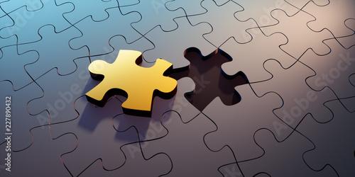 Photo Goldenes Puzzleteil in schwarzer Gruppe