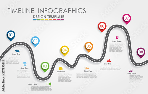 Photo  Navigation roadmap infographic timeline concept with place for your data
