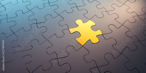Goldenes Puzzleteil in schwarzer Gruppe Wallpaper Mural