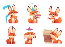 Cartoon Fox Characters. Orange Fluffy Wild Animals Poses And Emotions Zoo Vector Illustrations. Fox Animal Muzzle Wicked And Pensive