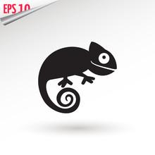 Chameleon Icon. Flat Symbol. I...
