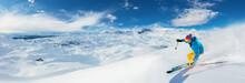 Alpine Skier Skiing Downhill, ...