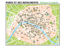 CARTE PARIS ET SES MONUMENTS - Calques-Vecteurs
