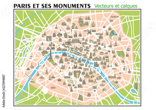 carte des monuments de paris CARTE PARIS ET SES MONUMENTS   Calques Vecteurs   Buy this stock