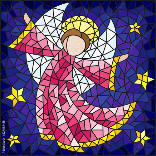 ilustracja-w-stylu-witrazu-abstrakcyjny-aniol-w-rozowej-szacie-na