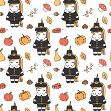 Cute Cartoon Thanksgiving Seamless Vector Pattern Background Illustration With Pilgrim Unicorns, Pumpkins, Apples, Pears, Leaves, Acorns, Chestnuts And Mushrooms