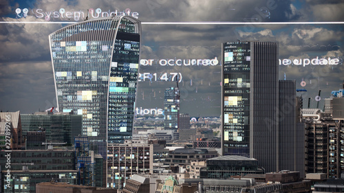 london skyline and data code Canvas Print