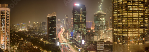 View of Jakarta downtown with skyscrapers lit