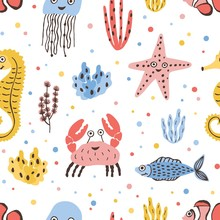 Colored Seamless Pattern With Happy Sea And Ocean Animals On White Background - Fish, Crab, Jellyfish, Starfish, Seahorse. Childish Flat Cartoon Vector Illustration For Textile Print, Wrapping Paper.