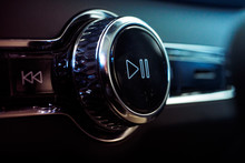 Luxury Car Sound Control Button Play And Pause. Interior Of Prestige Modern Car. Multimedia System In A Car, Dashboard.