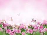 A bouquet of delicate pink roses, summer flowers. Floral background. Eustoma.