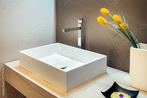 Stylish rectangular hand basin in modern bathroom