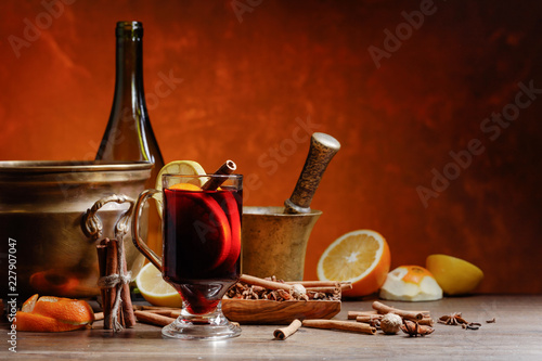 Mulled wine with spices .