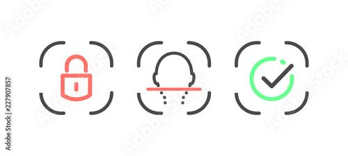 Fotografía  Facial recognition system linear design elements vector illustration