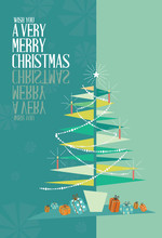 Abstract Merry Christmas Greeting Card Mid Century Mod Christmas Tree Design Concept