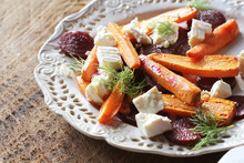 Healthy Grilled Beet, Carrots Salad With Cheese Feta, Fennel , Top View