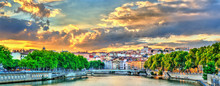 Sunset Above The Saone River In Lyon, France