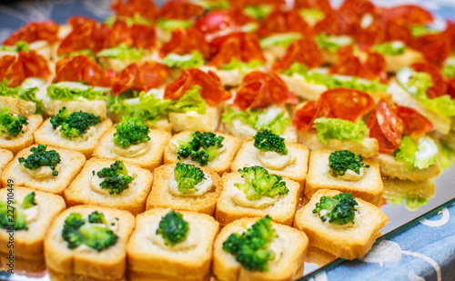 Delicious catering canapes on a buffet table