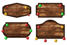 Collection Of Wooden Sign Boards And Christmas Ball Isolated On White Background With Objects Clipping Path For Design Work. Christmas Decoration Object Concept