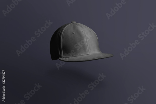 Fototapeta Blank cap in perspective view. Snapback on background. Blank baseball snap back cap for your design. Mock up hat cap for you logo, brand identity etc. obraz