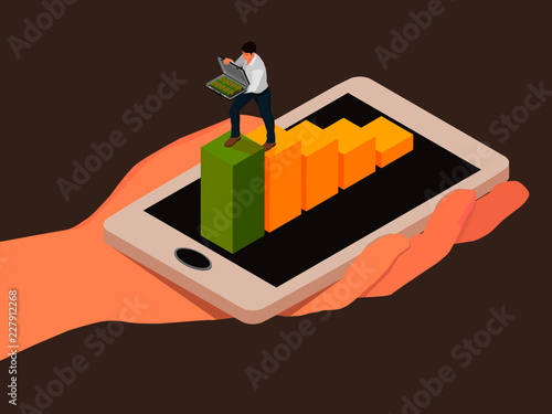 Abstraction of money transaction using a smartphone. A man with an open case climbs the chart to transfer money.