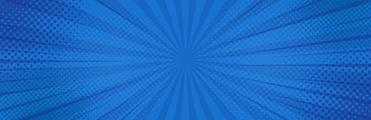 Vintage pop art blue background. Banner vector illustration
