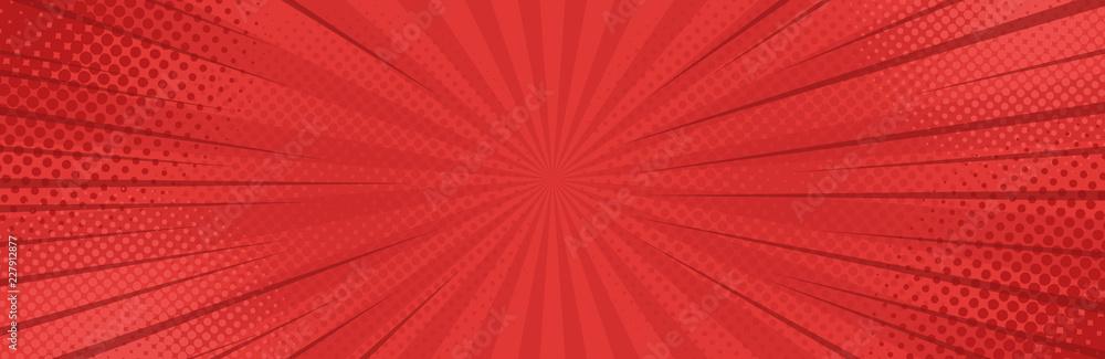 Vintage pop art red background. Banner vector illustration