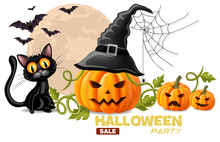 Halloween Card With Black Cat And Pumpkins Faces Vector Realistic