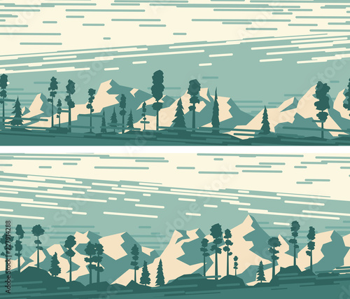 Set of horizontal banners with snowy forest mountains. Wallpaper Mural