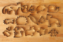 Different Cookie Forms On Wood...