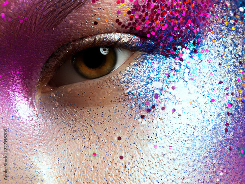 Beauty Cosmetics And Makeup Magic Eyes Look With Bright Creative Make Up Macro Shot Of Beautiful Woman S Face With Perfect Art Make Up With Glitter Body Art Buy This Stock Photo And