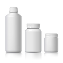 Cool Realistic White Plastic Bottle. Product Packing Cosmetic, Medicine.