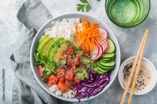salmon poke bowl (avocado, salmon, carrot, cucumber, red cabbage, radish and ri Canvas