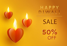 Diwali Offer With Glowing Paper Hearts. 50 Off Discount Sale Poster On Yellow Background. Vector Promo Banner.
