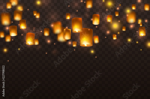 Obraz Lanterns isolated on transparent background. Diwali festival floating lamps. Vector indian paper flying lights with flame at night sky. - fototapety do salonu